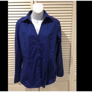 Express Women's Cobalt Blue Long Sleeve Button Dow